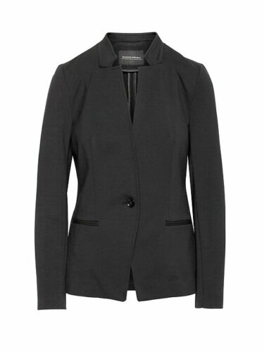 BANANA REPUBLIC $159 BLACK UNSTRUCTURED STRETCH PONTE BLAZER JACKET  12 T