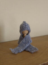Miniature Hat & Scarf Set ~ BLUE TWEED ~