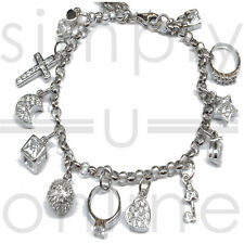 925 Silver 13 Charms Ladies Charm Bangle Bracelet Bracelets Fashion Jewellery