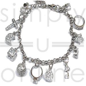 925-Silver-13-Charms-Ladies-Charm-Bangle-Bracelet-Bracelets-Fashion-Jewellery