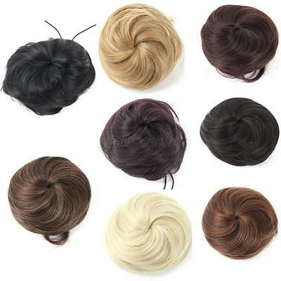 Hot Pony Tail Womens Clip in/on Hair Bun Hairpiece Hair Extension Scrunchie