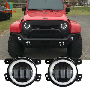 Halo Lights For Jeep Wrangler >> Details About Pair White Halo Led Fog Lights For 07 16 Jeep Wrangler Jk Front Bumper Lamp