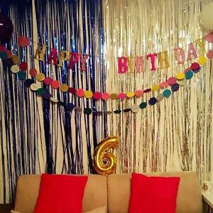 2M * 1M Metallic Tinsel Curtain Xmas Party Foil Fringe Curtain Wall ...