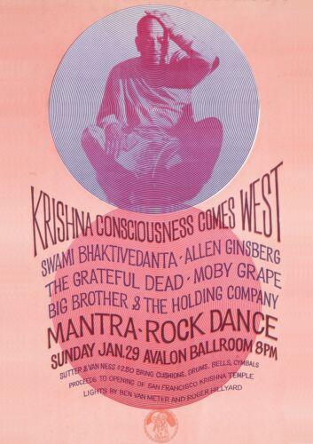 Krishna Consciousness Comes West Mantra Rock Dance Avalon Jan 8t1967 Art Poster