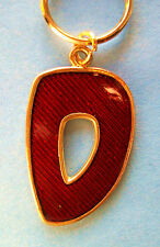 Metal Key Chain Ring * The Capital Letter D * Gold Frame Sparkle Red Inset New