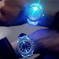 Women Girls Geneva LED Backlight Crystal Quartz Wrist Watch Sport Waterproof SJ