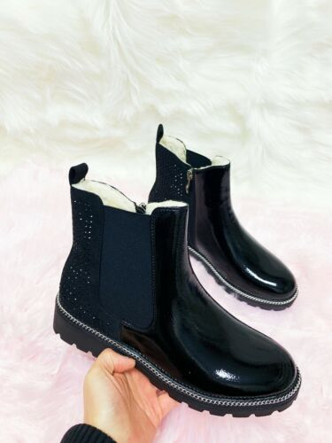 LADIES WOMENS CHELSEA STUDS ANKLE CHUNKY LOW HEEL INNER FUR SHOES BOOTS SIZE 3-8