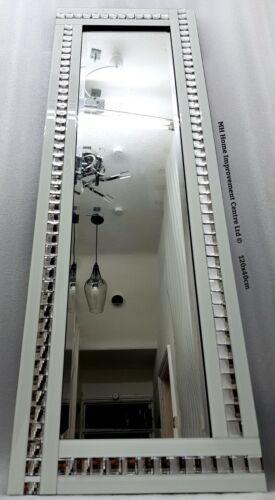 Weiß Glitzer Silber Kristall Border Volle Länge Hoch Wand Spiegel 120x40cm