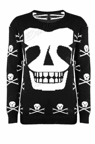 Ladies Womens Skeleton Skull Scary Face Jumper Knitted Sweats Sweater Top