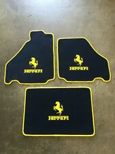 FERRARI 360 430 CUSTOM CAR FLOOR MATS YELLOW HORSE LOGO AND EDGING + TRUNK SET