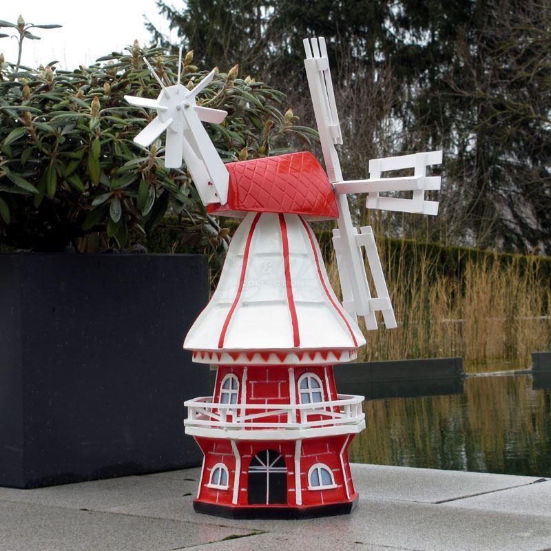 Gartenwindmühle Olivia Olivia Olivia 60 Cm Weiß Rot Garten Deko