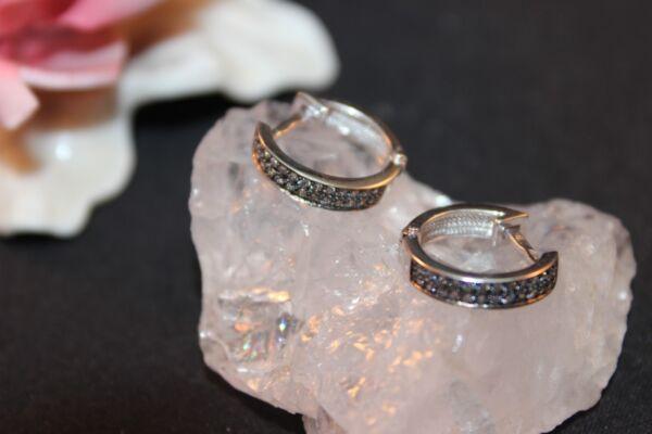 WunderschöNen Ohrringe Silber 925 Greolen Und Funkelnden Zirkonia
