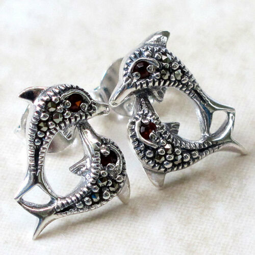 ATTRACTIVE MARCASITE DOLPHIN 925 STERLING SILVER STUD EARRINGS