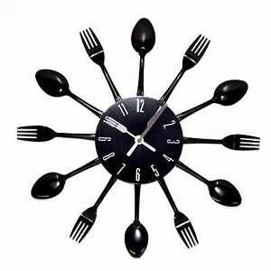 Modern Large Cutlery Wall Clock Fork & Spoon Kitchen Home ...