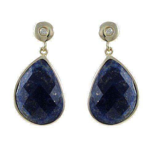 Gold Finish Sterling Silver Blue Sodalite CZ Teardrop Dangle Earrings