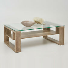 Couchtisch BELEN Wildeiche Eiche Beistelltisch Glas Glastisch Wohnzimmertisch