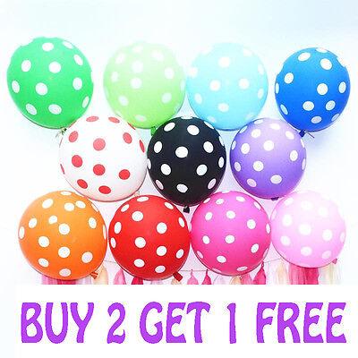 30 Polka Dot Spot Spotty Style Party Supplies Printed Latex Birthday Balloons