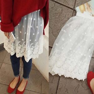 Lace-Half-Slip-Sheer-Floral-Embroidered-Elastic-Waist-Mesh-Petticoat-Underskirt
