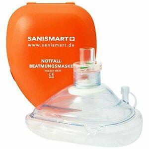 SANISMART CPR Beatmungsmaske + aufgedruckter Ersthelfer-Anleitung Notfall Hilfe