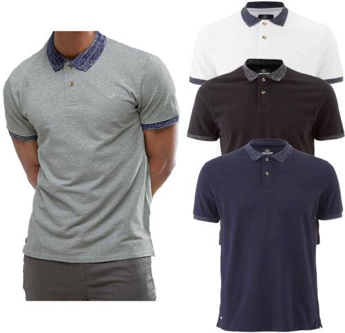 Mens Threadbare Cotton Contrast Collar Polo Shirt Plain Short Sleeve Top S XXL