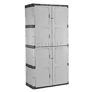 Image Is Loading Rubbermaid 7083 Plastic Storage Cabinet Full Double Door