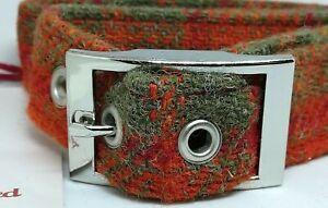 Collier de chien Harris Tweed à carreaux orange / rouge et vert