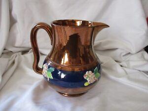 Sarreguemines-copper-cobalt-blue-raised-flowers-pitcher-France