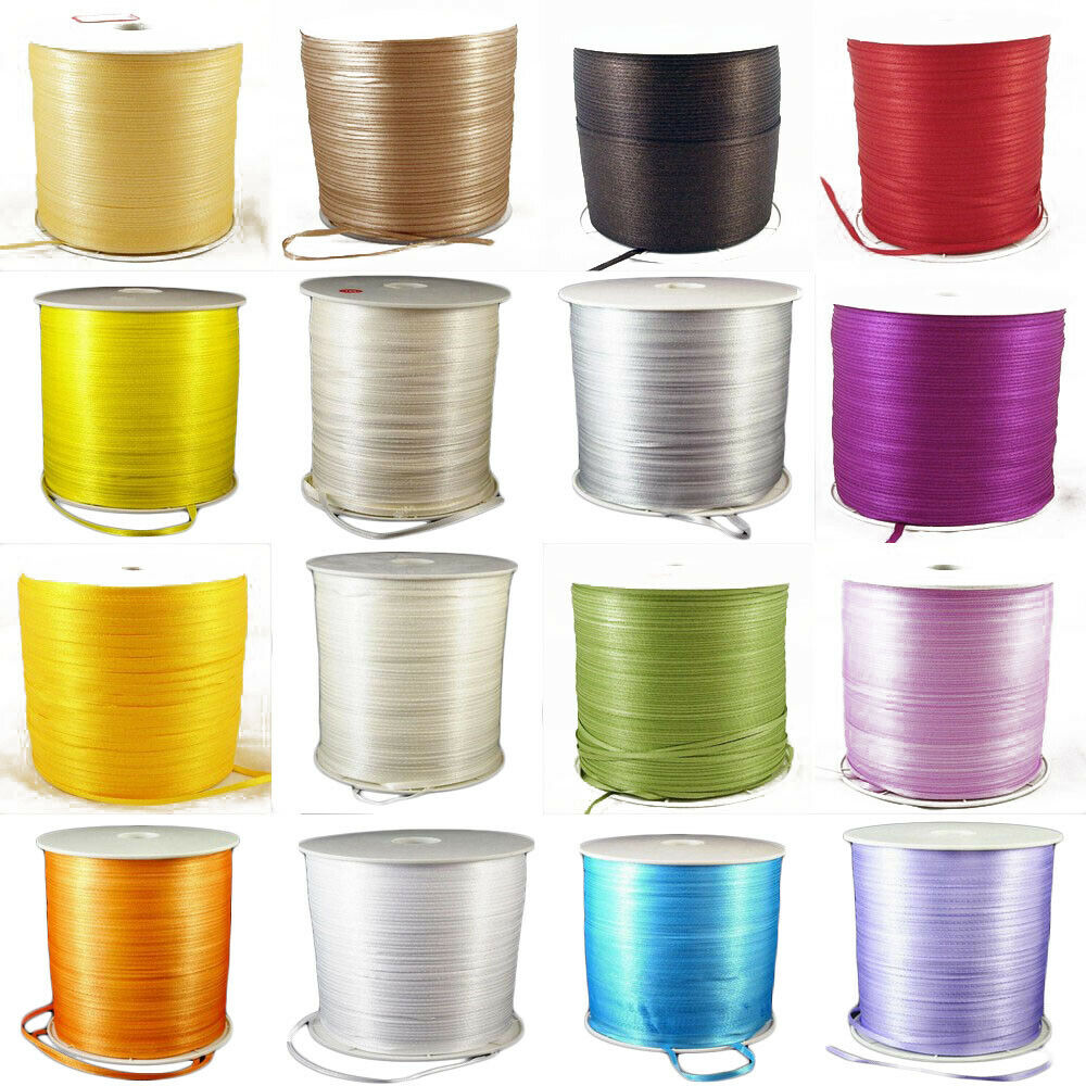 """800 Metres DOUBLE FACED Sided 3mm 1/8"""" Satin Ribbon Craft We"""