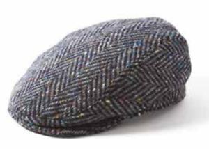 Donegal Longford Grey Fleck Herringbone Irish Tweed Flat Cap by Failsworth 877