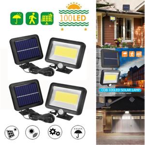 4pcs 100LED Solarleuchte mit Bewegungsmelder Solarstrahler Außen Gartenlampe DE