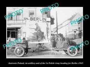 OLD-POSTCARD-SIZE-PHOTO-JASTOWIE-POLAND-POLISH-MILITARY-ARMY-TO-BERLIN-c1945