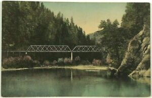 Postcard Los Angeles CA Railroad Bridge California Stream View 1900's 1910's