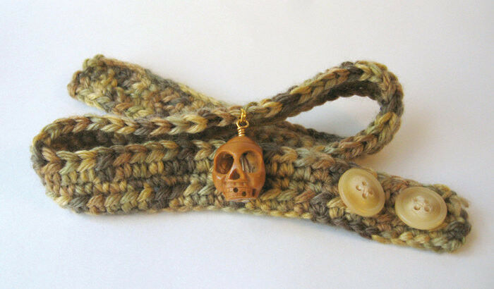 Crocheted Choker with Carved Olive Pit Skull Focal Bead - Unisex