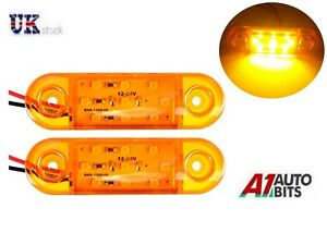 2X-Naranja-Ambar-12v-9-Led-Intermitente-Lateral-Luces-Indicadoras-de-Camion