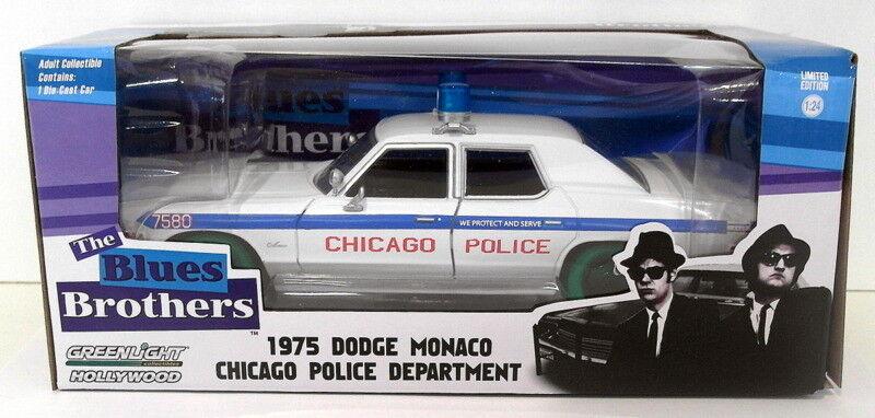 Greenlight 1 24 Scale 84012GW bluees Bredhers 1975 Dodge Monaco - Green Wheel Ver