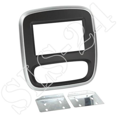 OPEL Vivaro ab2014 Doppel 2-DIN Radioblende Radioblende Halterung silber//schwarz