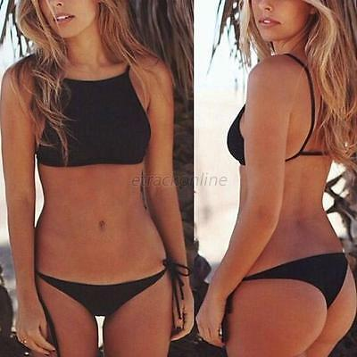 Sexy Women High Neck Swimwear Bikini Set Bandage Push Up Bra Swimsuit Beachwear