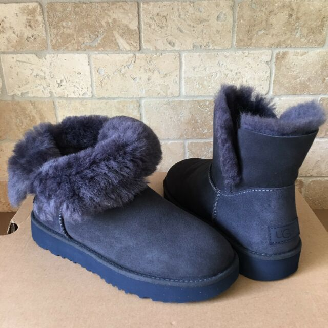 d2cb71c85b3 UGG Classic Cuff Mini Imperial Blue Suede Sheepskin Ankle Boots Size US 6  Womens