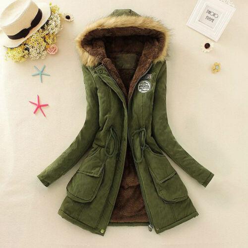 Women/'s Fur Collar Hooded Quilted Coat Jacket Slim Long Winter Parka Outwear