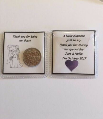 Flowergirl Personalised Sixpence Wedding Favour Gift Bridesmaid Purple Heart