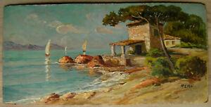 Huile-sur-panneau-ecole-provencale-du-XXeme-signee-marine