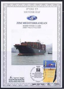 ISRAEL-2002-STAMPS-ZIM-MEDITERRANEAN-SHIP-SOUVENIR-LEAF-CARMEL-429-IN-FOLDER