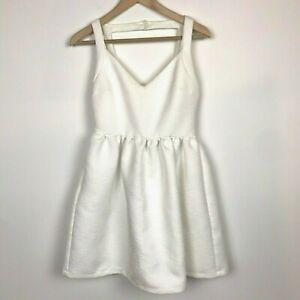 Zara-Trafaluc-Dress-Size-M-White-Brocade-Sleeveless-Cutout-Fit-amp-Flare-Textured