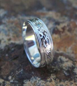 Hawaiian 3mm Heritage Plumeria 925 Sterling Silver Ring - #R11