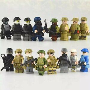 Lego-Militaire-Soldat-Lot-De-16-Force-De-L-039-odre-Figurines-Military-Jeux-Enfant