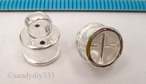 2x BRIGHT STERLING SILVER PENDANT BAIL SLIDER w// END CAP THREAD CONNECTOR #2360
