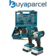 Makita 18v Cordless Combi Hammer Drill & Impact Driver Twin Pack + 74 piece Set