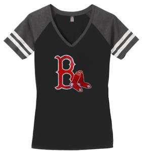 889631757 Ladies BOSTON RED SOX V-neck T-Shirt WOMEN S TEE Sparkle Size (S-3X ...