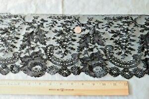 Pretty-Antique-French-Black-Chantilly-Handmade-Lace-Flounce-L-24-034-X-W-6-034