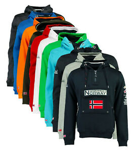 Felpa-GEOGRAPHICAL-NORWAY-GymClass-Uomo-Men-tascone-half-Zip-Anapurna-cappuccio